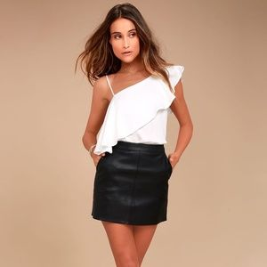 NWT Vegan Leather Black Mini Skirt, Size Large
